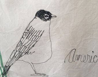 Freehand Machine Embroidered  American robin Tea towel