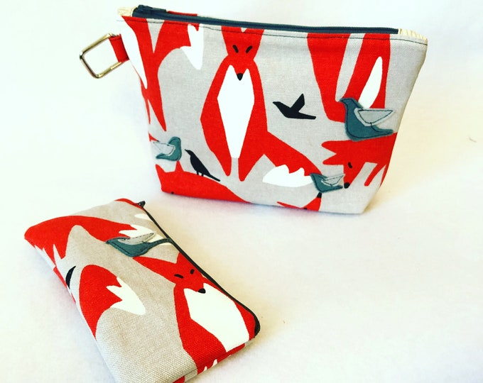 Featured listing image: Organic Cotton Canvas Felt Appliqué large zipper pouch, bird, fox and crow