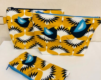 Organic Cotton Baby Wale corduroy gusset zipper pouch in Swooping Cranes
