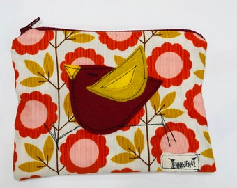 Organic Baby Wale Corduroy Padded Zipper Pouch in Blooming vines