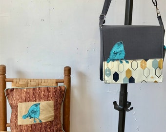 Cerulean Warbler stitched drawn messenger bag with free accessory