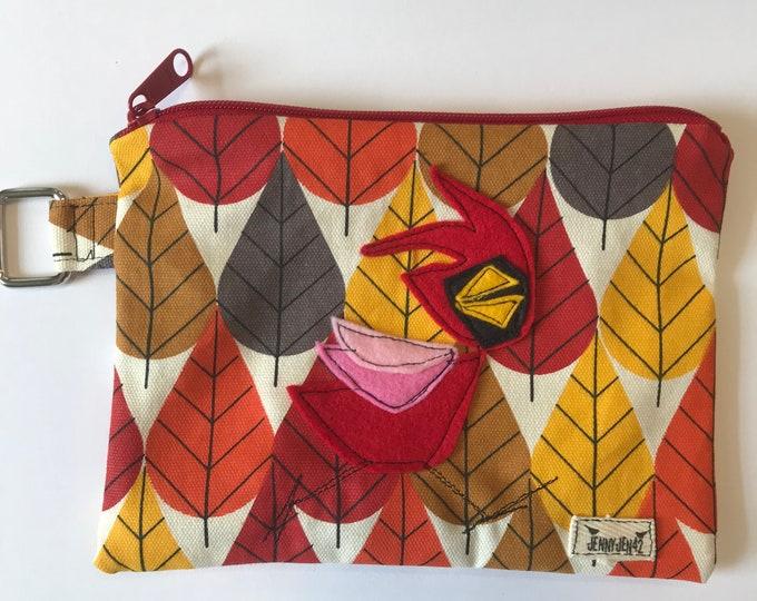 Featured listing image: Organic Cotton Cardinal Felt Appliqué large zipper pouch