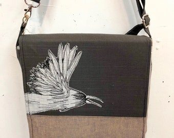 Common Raven, stitched drawn messenger bag, adjustable strap, freehand machine stitched bird, with free accessory