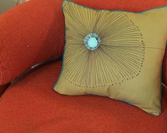 Starburst Pillow, Mid-Century Modern, Thread Drawing, Felt Appliqué, Custom, Pillow Cover