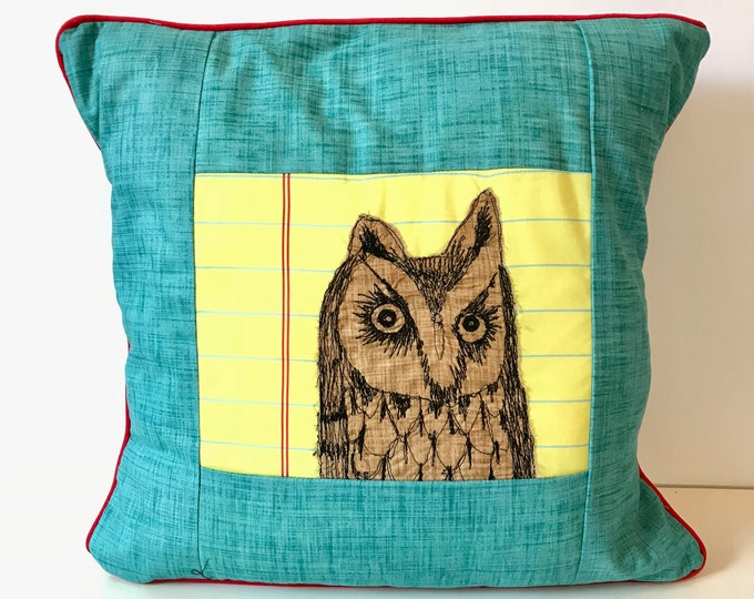 Featured listing image: Long Eared Owl Freehand Machine Stitch Pillow
