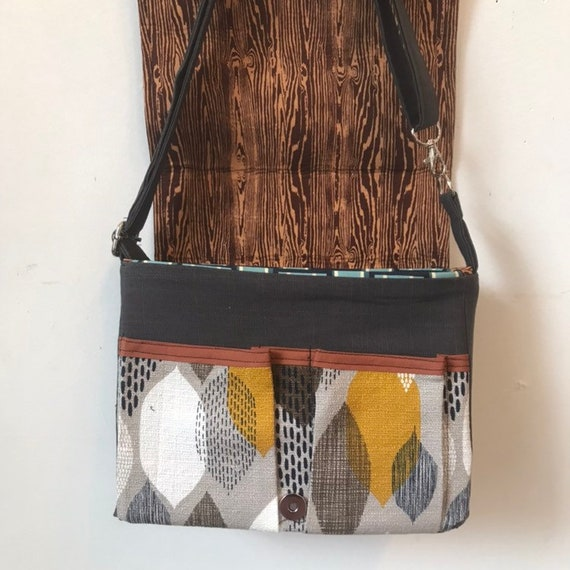 freehand machine stitched bird adjustable strap Cerulean Warbler stitched drawn messenger bag with free accessory