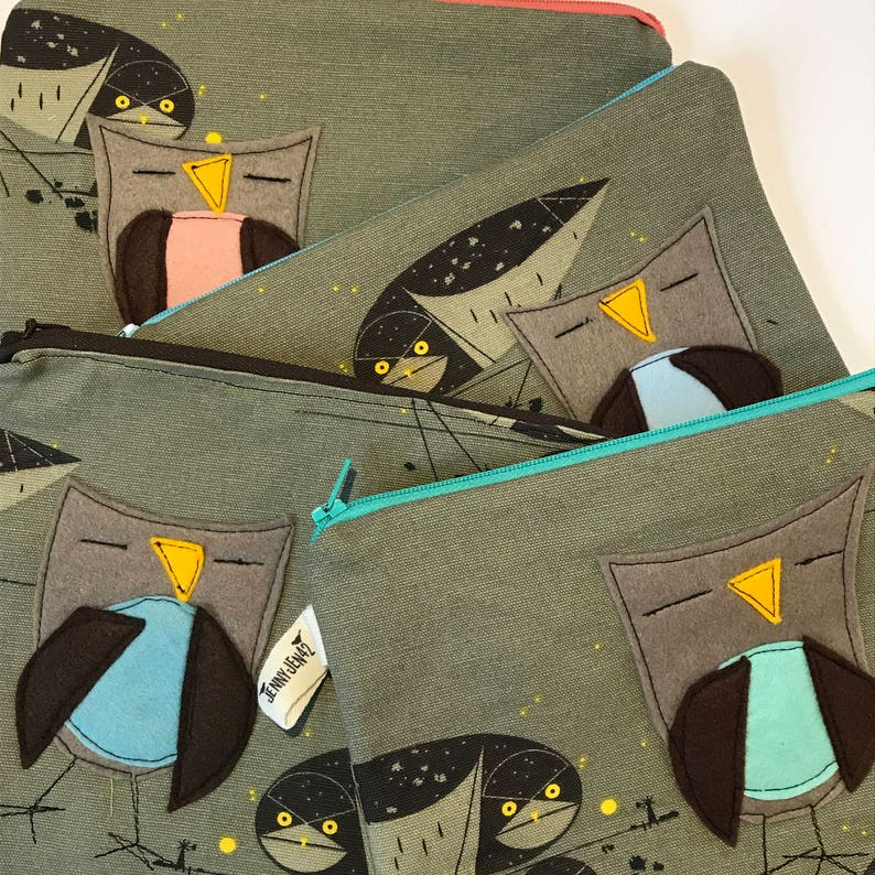 Charley Harper fabric Owl Felt Appliqu\u00e9 large zipper pouch gift idea lined organic cotton canvas