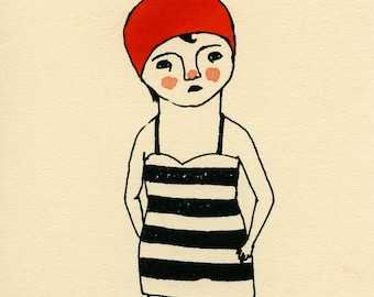 Swimmer gocco screen print red 5x7