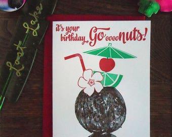 letterpress go coconuts greeting card birthday happy birthday tropical tiki flower red green lime umbrella