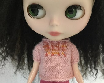 Blythe doll Glimmer Sweater knitting PATTERN - fun cute reverse cardi swing sweater - instant download - permission to sell finished items