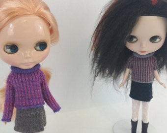 Blythe doll Emmeline Sweater knitting PATTERN - cute striped reverse cardi sweater - instant download - permission to sell finished items
