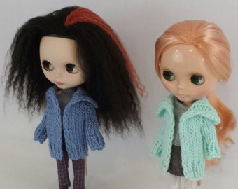 Blythe doll Aurora Sweater knitting PATTERN - worsted weight cozy big warm cardigan - instant download - permission to sell finished items