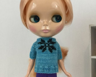 Blythe doll Alicia Sweater knitting PATTERN - fun cute snowflake winter sweater - instant download - permission to sell finished items