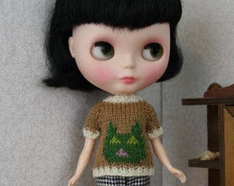 Blythe doll Cat Sweater knitting PATTERN - cute pullover style kitty cat sweater - instant download - permission to sell finished items