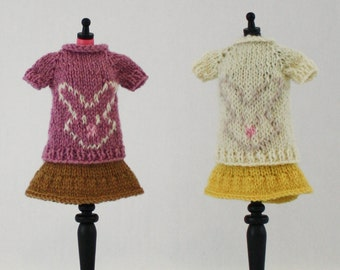 Blythe doll Bunny Sweater knitting PATTERN - cute rabbit bun short sleeve sweater - instant download - permission to sell finished items