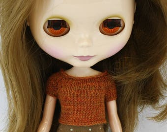 Blythe doll Jenkins Sweater knitting PATTERN - short sleeve cute cropped top for Neo - instant download - permission to sell finished items