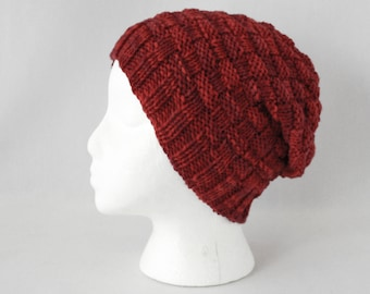 Hive Hat knitting PATTERN - worsted slouchy basketweave cap knit toque stocking hat adult - three sizes - permission to sell finished items