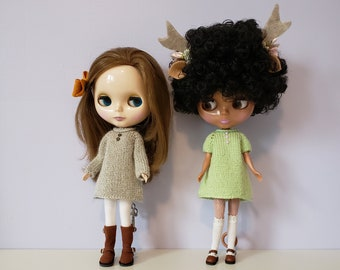 Blythe doll Lucien Dress knitting PATTERN - cute sweater flare shift above knee dress - instant download - permission to sell finished items