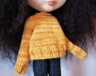 Blythe Bridget Sweater fingering weight knitting PATTERN long-sleeved doll sweater - instant download - permission to sell finished objects