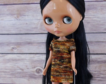 Blythe doll Mags Dress knitting PATTERN - cute short sleeve sweater mini shift dress - instant download - permission to sell finished items