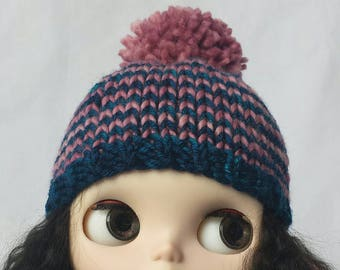 Blythe Bertha Hat knitting PATTERN - cute striped doll bobble hat toque stocking - instant download - permission to sell finished objects