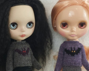 Blythe doll Batty Sweater knitting PATTERN - cute creepy Halloween bat sweater - instant download - permission to sell finished items