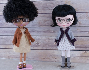 Blythe doll Joy Coat knitting PATTERN - cute long sleeve sweater coat cardigan trim - instant download - permission to sell finished items