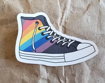 Chuck Taylor sticker - rainbow pride converse all star high top hi-top sneaker - fun original art eco planner - 5cm - 2 inch - no plastic