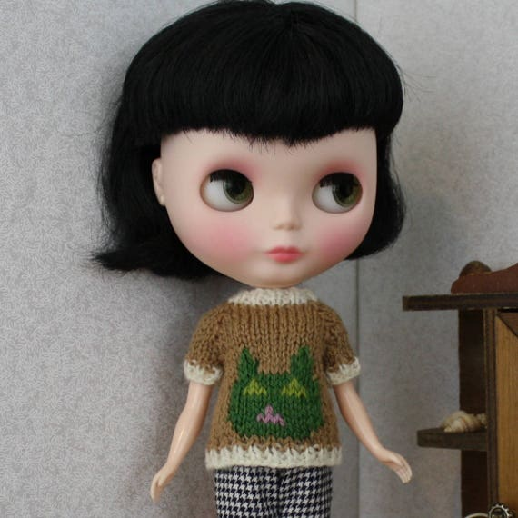 Blythe doll Cat Sweater knitting PATTERN cute pullover style