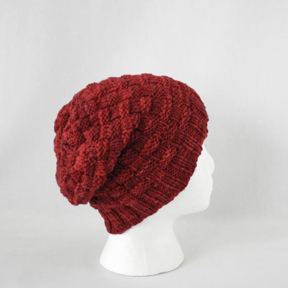 Hive Hat Knitting Pattern Worsted Slouchy Basketweave Cap Knit