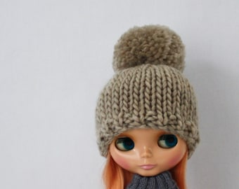 Bulky Bobble Hat for Blythe knitting PATTERN cute bulky knit pom pom doll hat - instant download - permission to sell finished objects