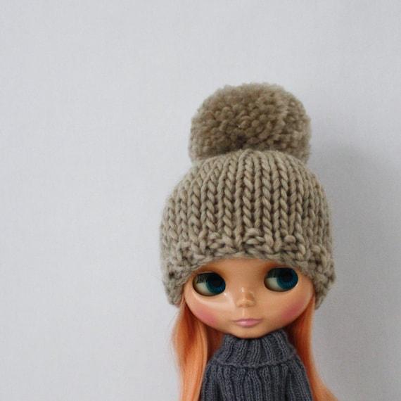 Bulky Bobble Hat For Blythe Knitting Pattern Cute Bulky Knit Etsy