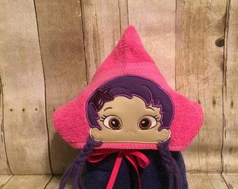 FREE SHIPPING Purple guppy girl hooded bathpool towel