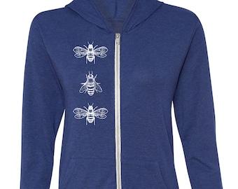Gardening Gift for Her | Honey Bees Sweatshirt Women | Queen Bee Unisex Zip Up Hoodie Navy Blue Plus Size
