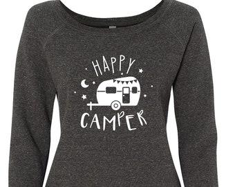 Happy Camper Vintage Sweatshirt Womens | Summer Camping Adventure Outdoor Shirt | RV Travel Trailer Gifts for Van Life Lovers