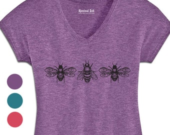 Honey Bees Womens Tshirts | Gardening Gift for a Queen Bee, Plant Mom or Plant Lady | Screen Print Graphic Tees
