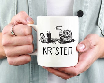 Personalized Otter Mug, Cute Funny Coffee Mugs, Coffee Lovers Gift for Co-Worker or Best Friend, Custom Ceramic Coffee Mug