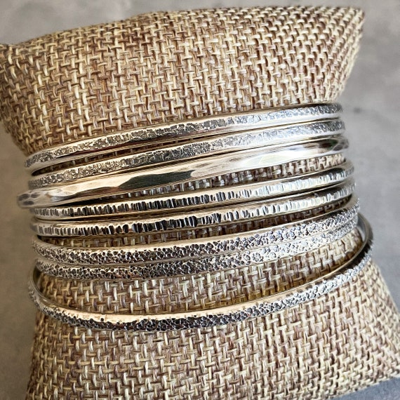 Textured Sterling Silver Cuff Bracelets