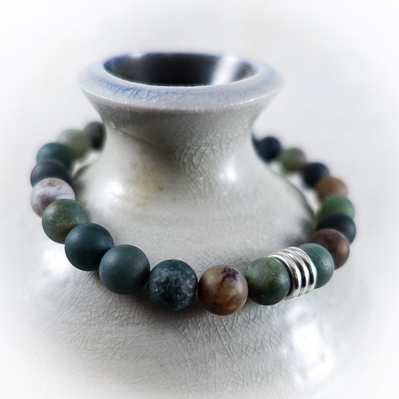 Men's Bracelet: Matte Indian Agate