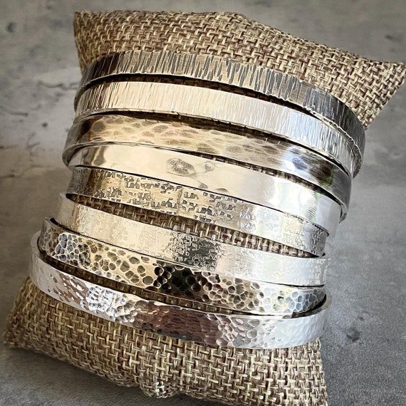 Sterling Silver Flat Textured Cuff Bracelet, Ready Made Sizes