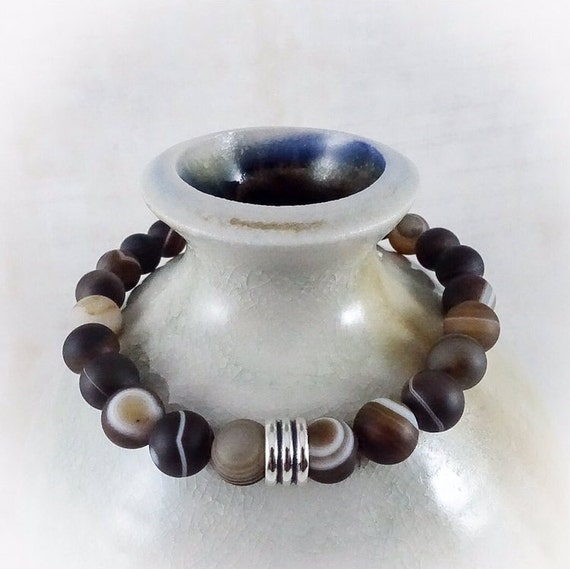 Men's Bracelet: Matte Brown Agate