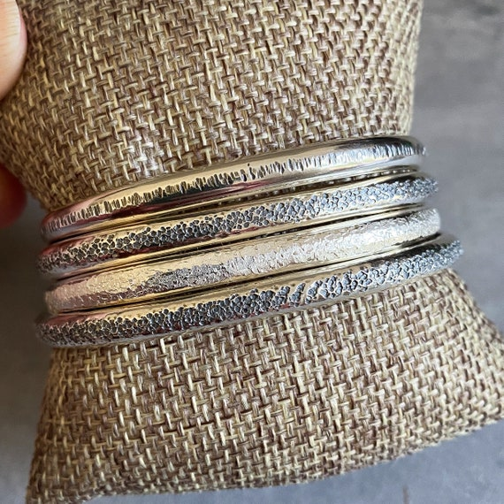 5mm Half Round Hammered Sterling Silver Cuff Bracelets