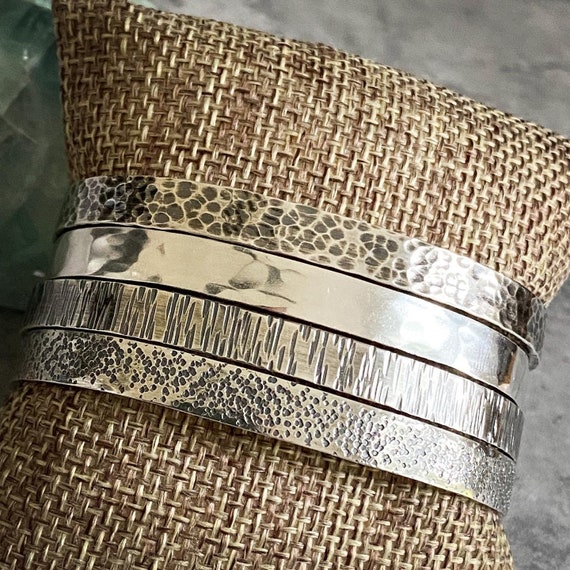Hammered Sterling Silver Flat Textured Cuff Bracelets - Ready Made