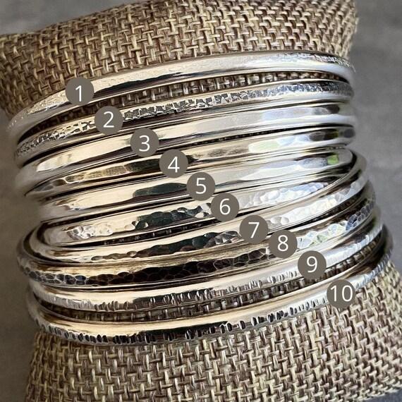 Half Round Textured Sterling Silver Cuff Bracelets, 4mm