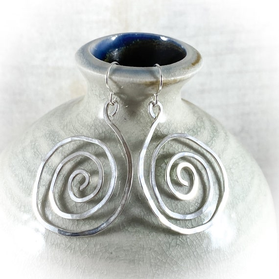 Hammered Sterling Spiral Earrings