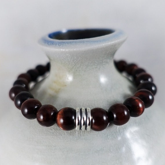 Mens Bracelet: Red Tiger Eye