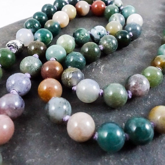 Knotted Indian Agate Necklace