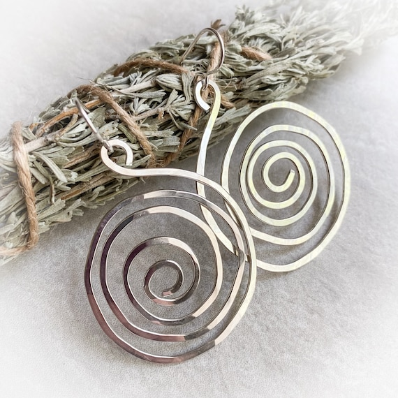 Large Silver Spiral Earrings