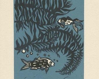 Goldfish linoleum block print