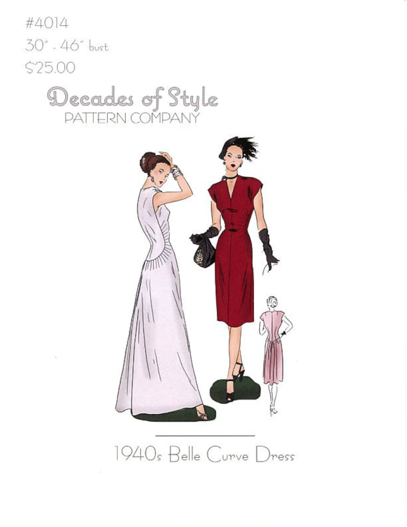 1930s Sewing Patterns- Dresses, Pants, Tops     Belle Curve 1930  Decades of Style Vintage Style Sewing Pattern $25.00 AT vintagedancer.com